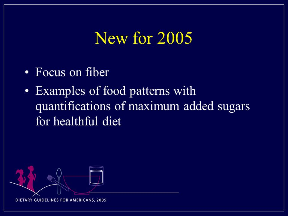 New for 2005 Focus on fiber Examples of food patterns with quantifications of maximum added sugars for healthful diet