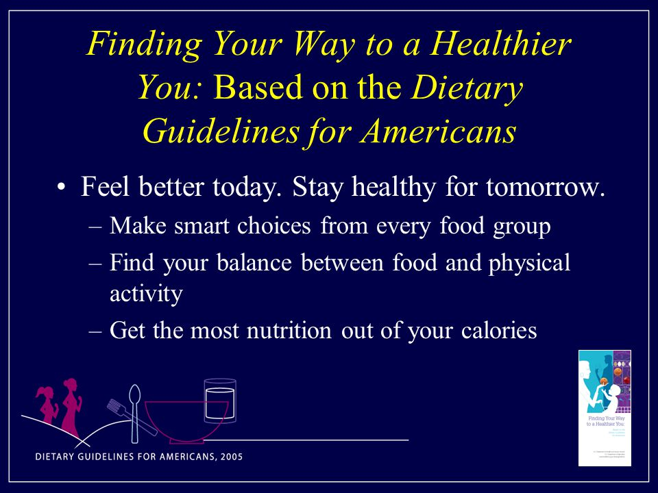 Finding Your Way to a Healthier You: Based on the Dietary Guidelines for Americans Feel better today.