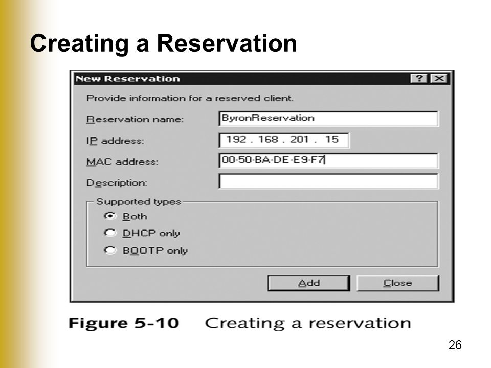 26 Creating a Reservation