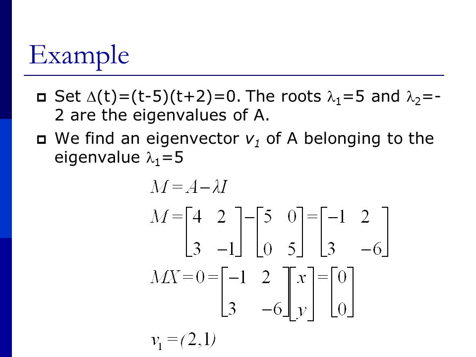 Example  Set (t)=(t-5)(t+2)=0. The roots 1 =5 and 2 =- 2 are the eigenvalues of A.