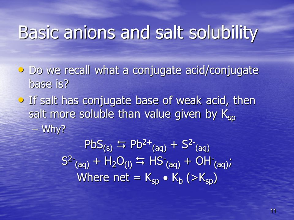 11 Basic anions and salt solubility Do we recall what a conjugate acid/conjugate base is.