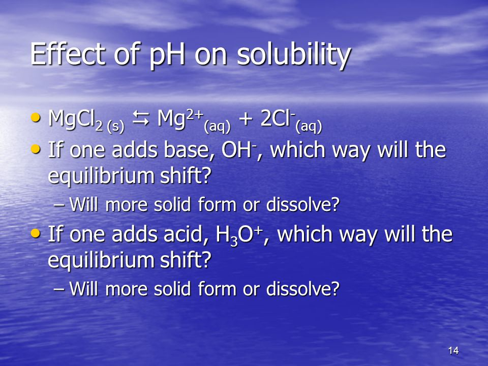 14 Effect of pH on solubility MgCl 2 (s)  Mg 2+ (aq) + 2Cl - (aq) MgCl 2 (s)  Mg 2+ (aq) + 2Cl - (aq) If one adds base, OH -, which way will the equilibrium shift.