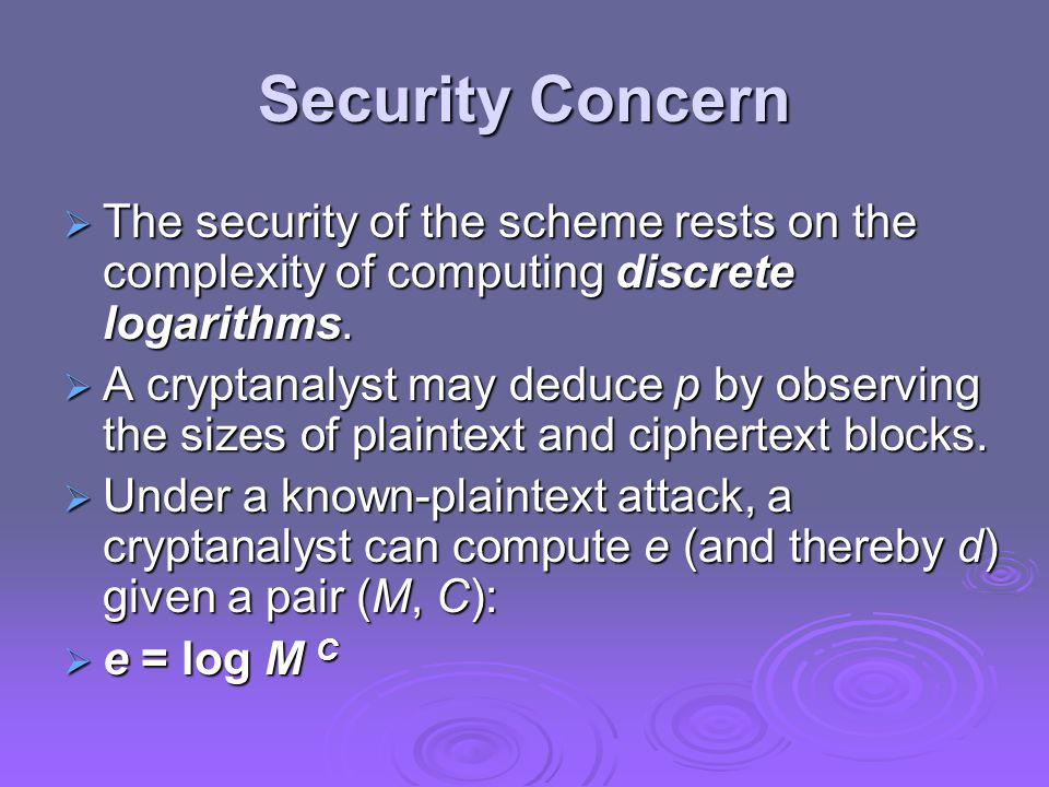 Security Concern  The security of the scheme rests on the complexity of computing discrete logarithms.