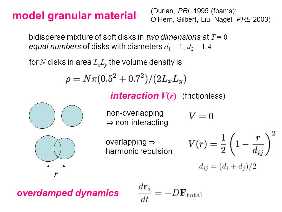 model granular material bidisperse mixture of soft disks in two dimensions at T = 0 equal numbers of disks with diameters d 1 = 1, d 2 = 1.4 for N disks in area L x L y the volume density is interaction V(r) (frictionless) non-overlapping ⇒ non-interacting overlapping ⇒ harmonic repulsion r (Durian, PRL 1995 (foams); O'Hern, Silbert, Liu, Nagel, PRE 2003) overdamped dynamics