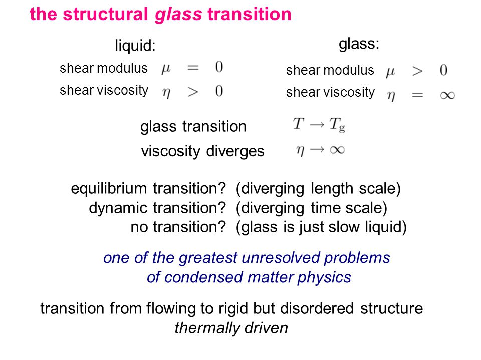 the structural glass transition liquid: shear modulus shear viscosity glass: shear modulus shear viscosity glass transition viscosity diverges equilibrium transition.