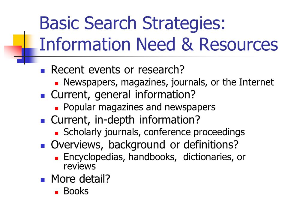 Basic Search Strategies: Information Need & Resources Recent events or research.