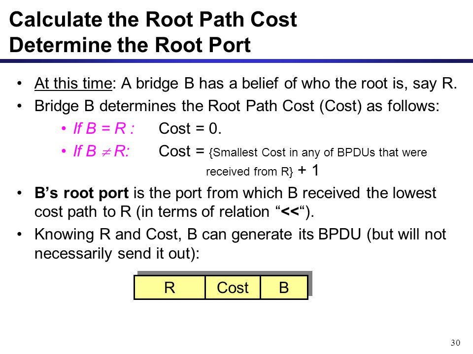 30 At this time: A bridge B has a belief of who the root is, say R.