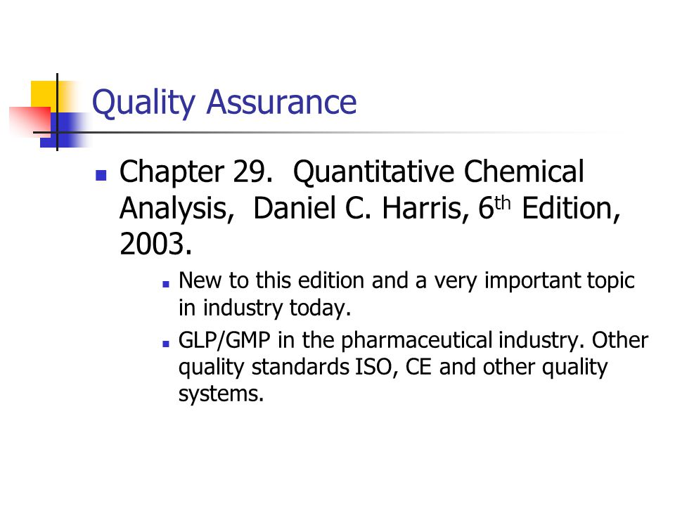 Quality Assurance Chapter  Quantitative Chemical Analysis Daniel