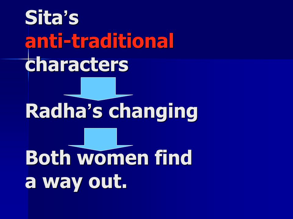 Sita ' s anti-traditional characters Radha ' s changing Both women find a way out.
