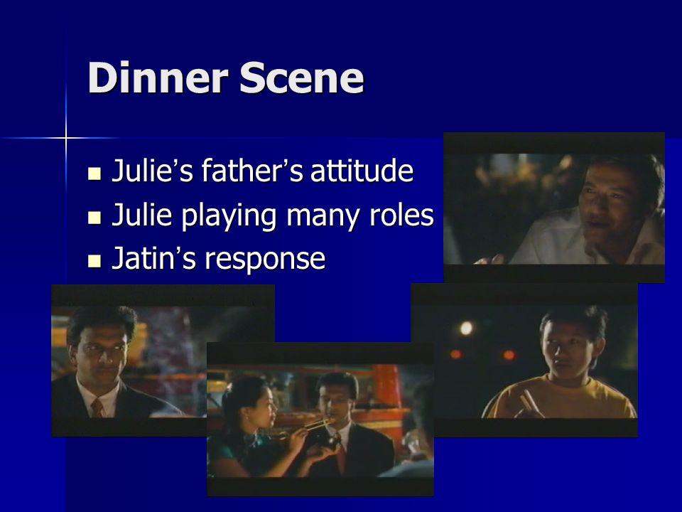 Dinner Scene Julie ' s father ' s attitude Julie ' s father ' s attitude Julie playing many roles Julie playing many roles Jatin ' s response Jatin ' s response