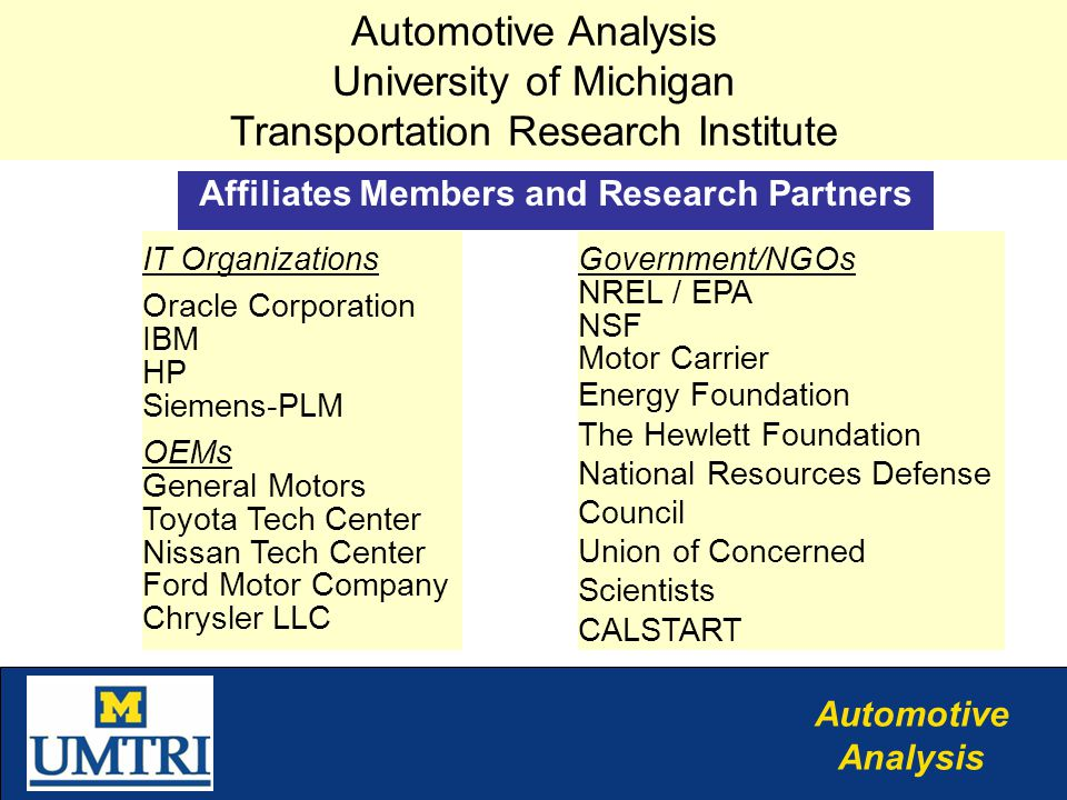 Automotive Analysis IT Organizations Oracle Corporation IBM HP Siemens-PLM OEMs General Motors Toyota Tech Center Nissan Tech Center Ford Motor Company Chrysler LLC Affiliates Members and Research Partners Automotive Analysis University of Michigan Transportation Research Institute Government/NGOs NREL / EPA NSF Motor Carrier Energy Foundation The Hewlett Foundation National Resources Defense Council Union of Concerned Scientists CALSTART