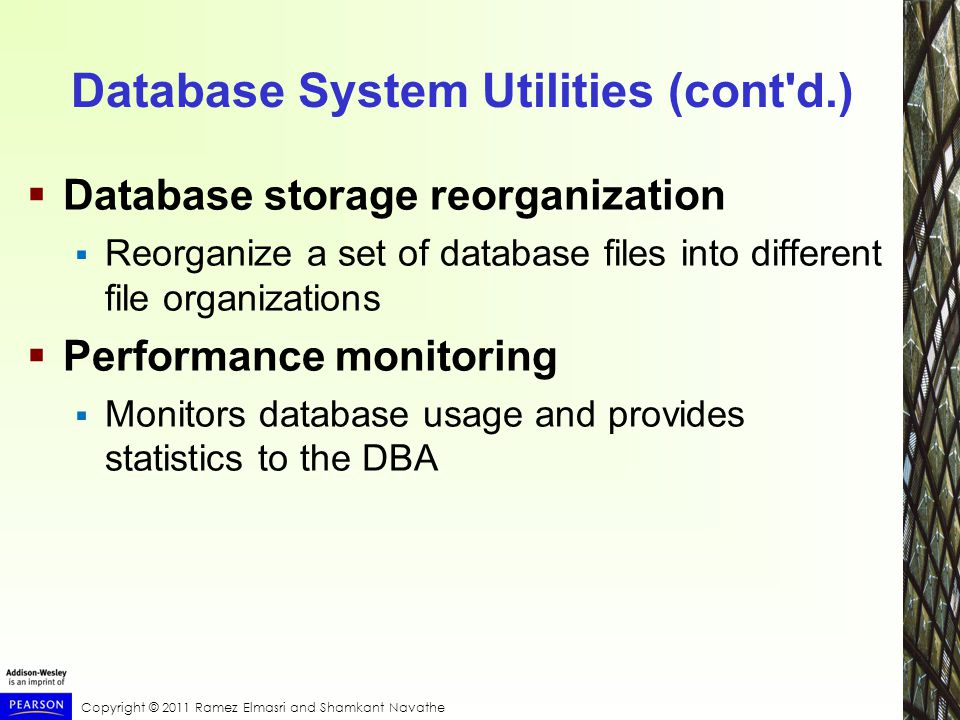 Copyright © 2011 Ramez Elmasri and Shamkant Navathe Database System Utilities (cont d.)  Database storage reorganization  Reorganize a set of database files into different file organizations  Performance monitoring  Monitors database usage and provides statistics to the DBA