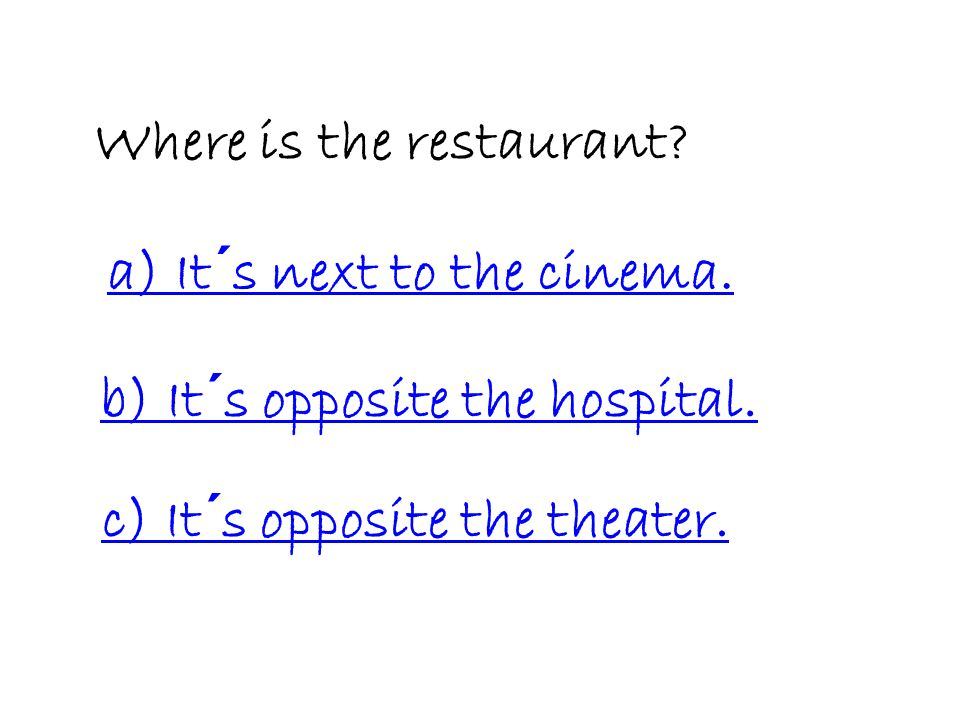 Cinema Restaurant Toy shop Hotel Bakery Theater House Hospital