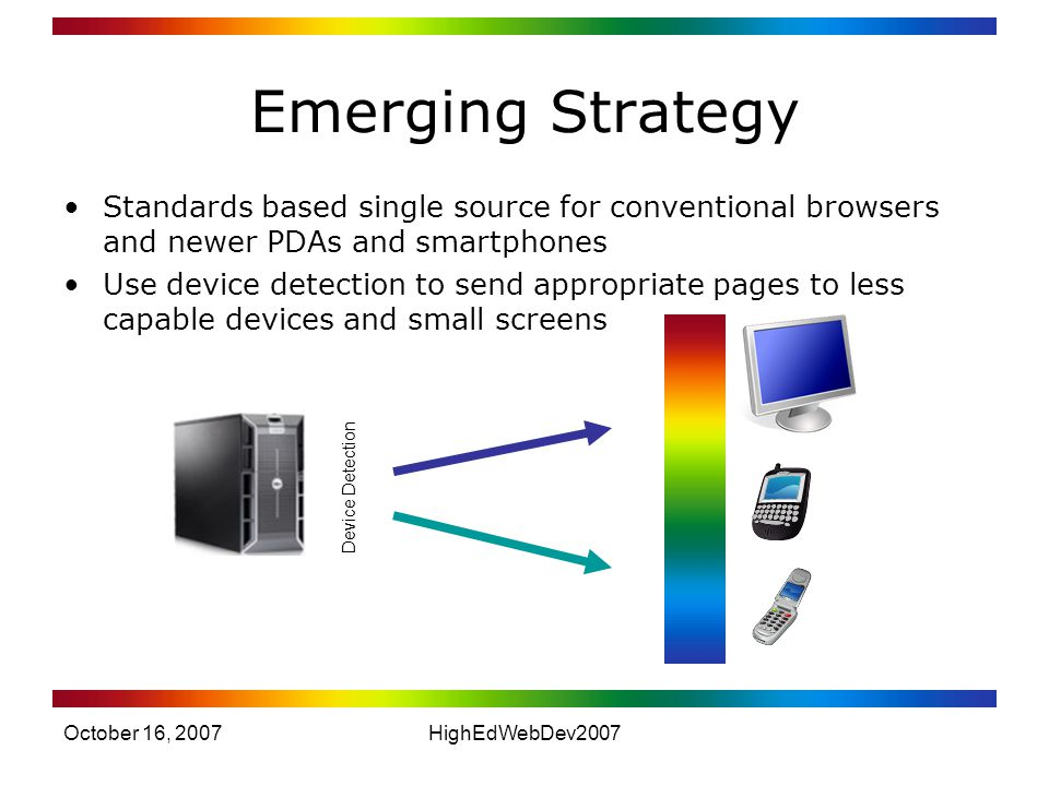 October 16, 2007HighEdWebDev2007 Emerging Strategy Standards based single source for conventional browsers and newer PDAs and smartphones Use device detection to send appropriate pages to less capable devices and small screens Device Detection