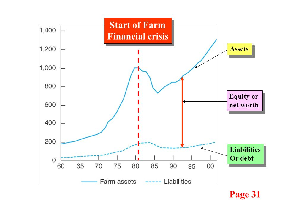 Liabilities Or debt Liabilities Or debt Assets Equity or net worth Start of Farm Financial crisis Start of Farm Financial crisis