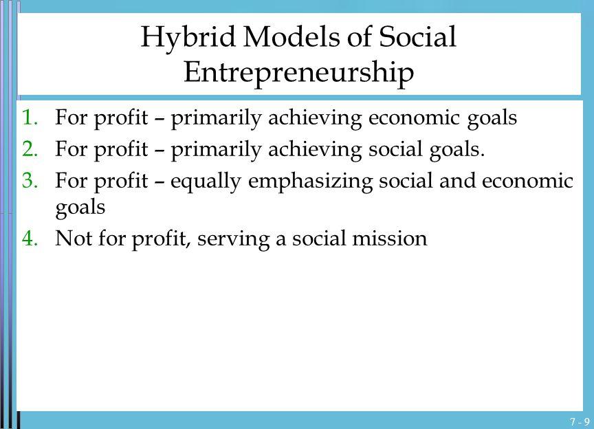 7 - 9 Hybrid Models of Social Entrepreneurship 1.For profit – primarily achieving economic goals 2.For profit – primarily achieving social goals.
