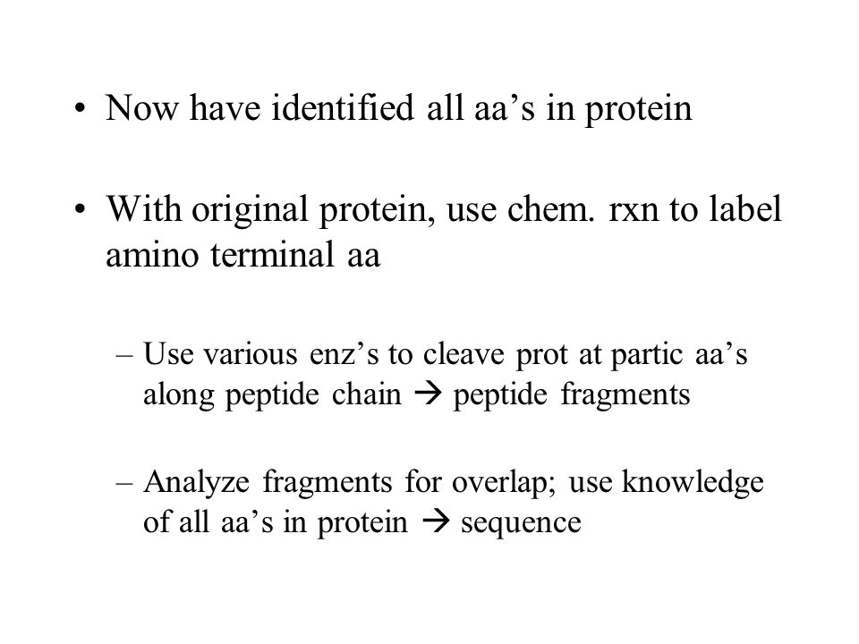 Now have identified all aa's in protein With original protein, use chem.