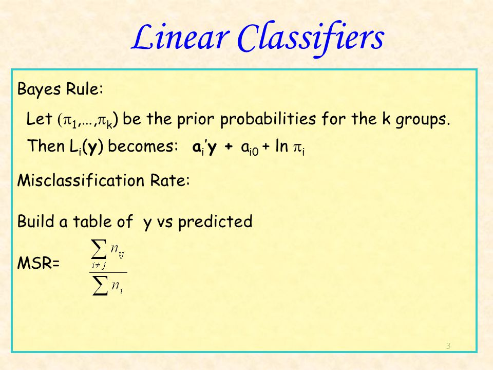 3 Linear Classifiers Bayes Rule: Let  1,…,  k ) be the prior probabilities for the k groups.