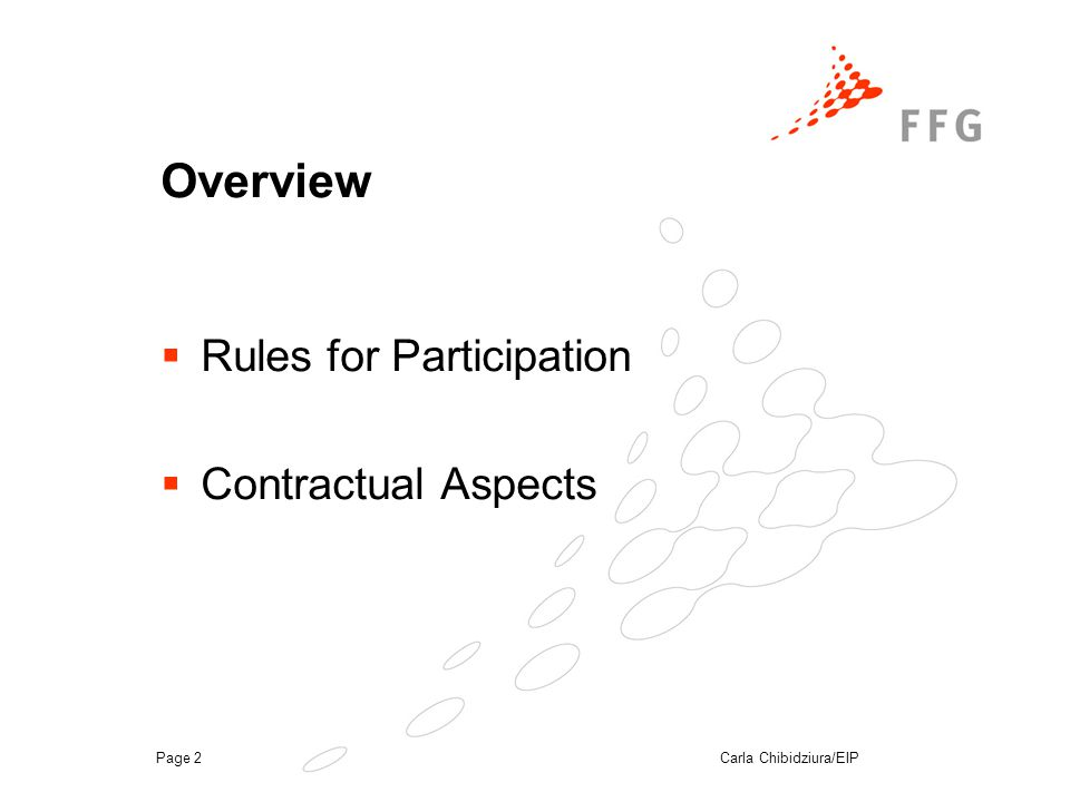 Carla Chibidziura/EIPPage 2 Overview  Rules for Participation  Contractual Aspects
