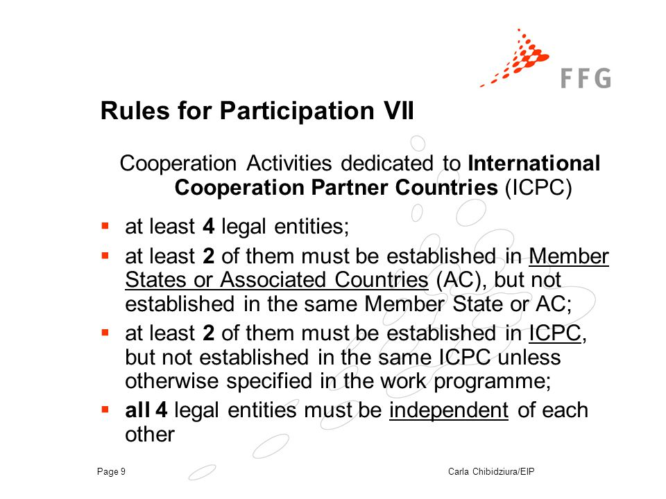 Carla Chibidziura/EIPPage 9 Rules for Participation VII Cooperation Activities dedicated to International Cooperation Partner Countries (ICPC)  at least 4 legal entities;  at least 2 of them must be established in Member States or Associated Countries (AC), but not established in the same Member State or AC;  at least 2 of them must be established in ICPC, but not established in the same ICPC unless otherwise specified in the work programme;  all 4 legal entities must be independent of each other