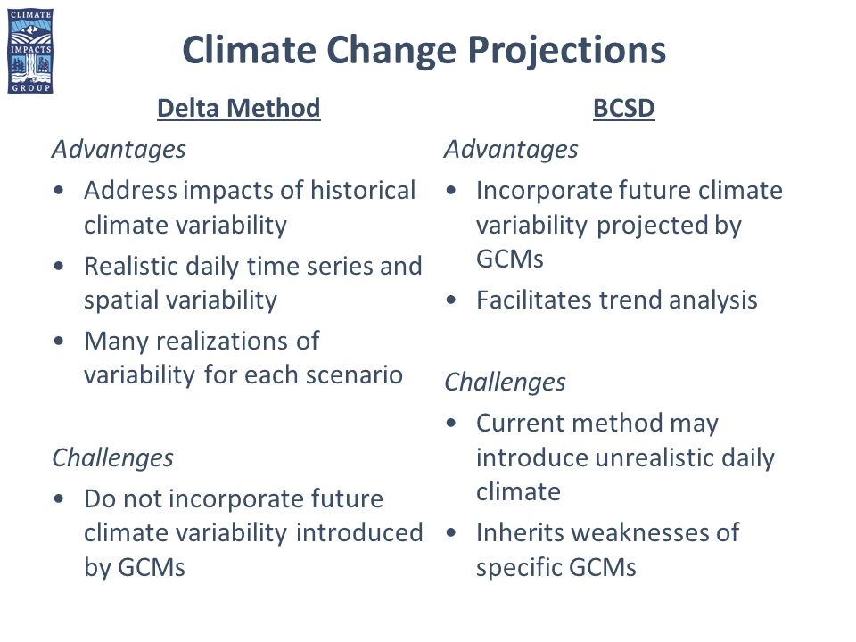 Delta Method Advantages Address impacts of historical climate variability Realistic daily time series and spatial variability Many realizations of variability for each scenario Challenges Do not incorporate future climate variability introduced by GCMs BCSD Advantages Incorporate future climate variability projected by GCMs Facilitates trend analysis Challenges Current method may introduce unrealistic daily climate Inherits weaknesses of specific GCMs Climate Change Projections