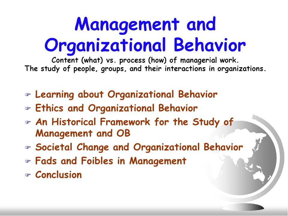 Management and Organizational Behavior Content (what) vs.