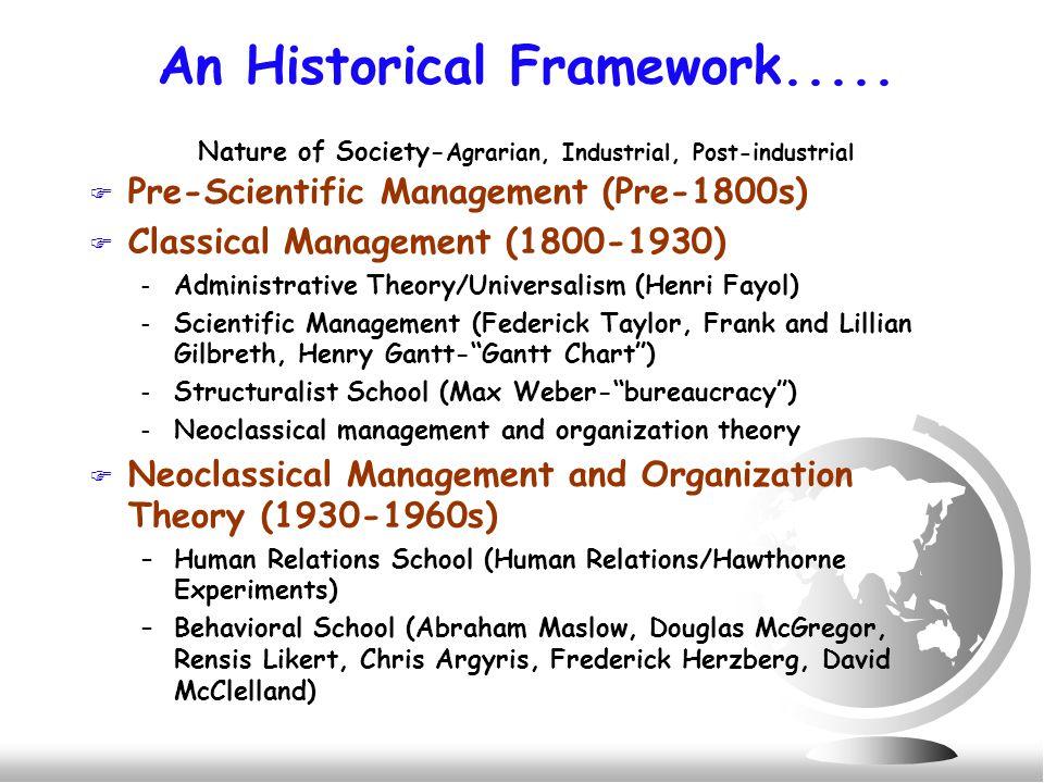 An Historical Framework.....