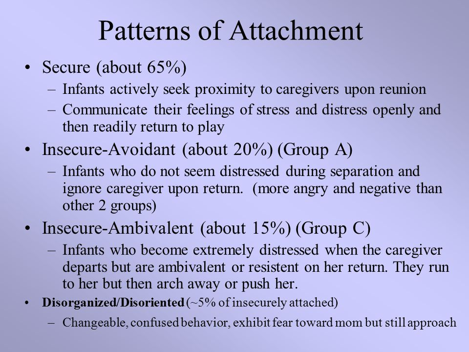 Patterns of Attachment Secure (about 65%) –Infants actively seek proximity to caregivers upon reunion –Communicate their feelings of stress and distress openly and then readily return to play Insecure-Avoidant (about 20%) (Group A) –Infants who do not seem distressed during separation and ignore caregiver upon return.
