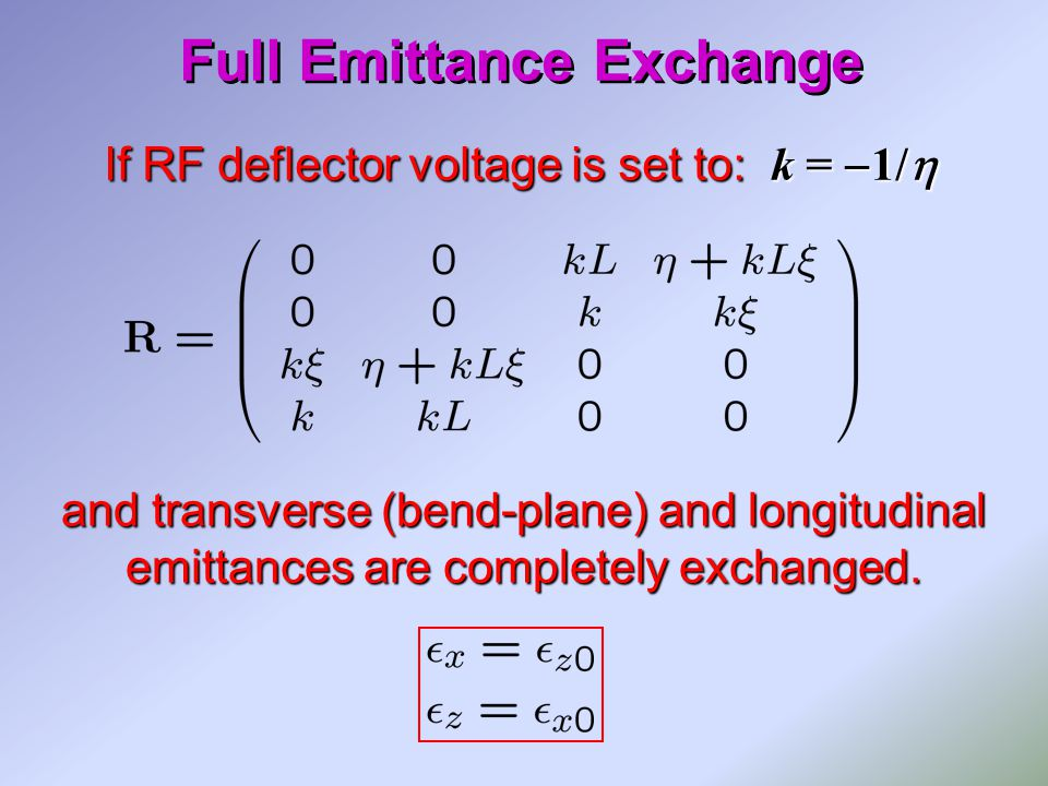 If RF deflector voltage is set to: k =  1/  and transverse (bend-plane) and longitudinal emittances are completely exchanged.