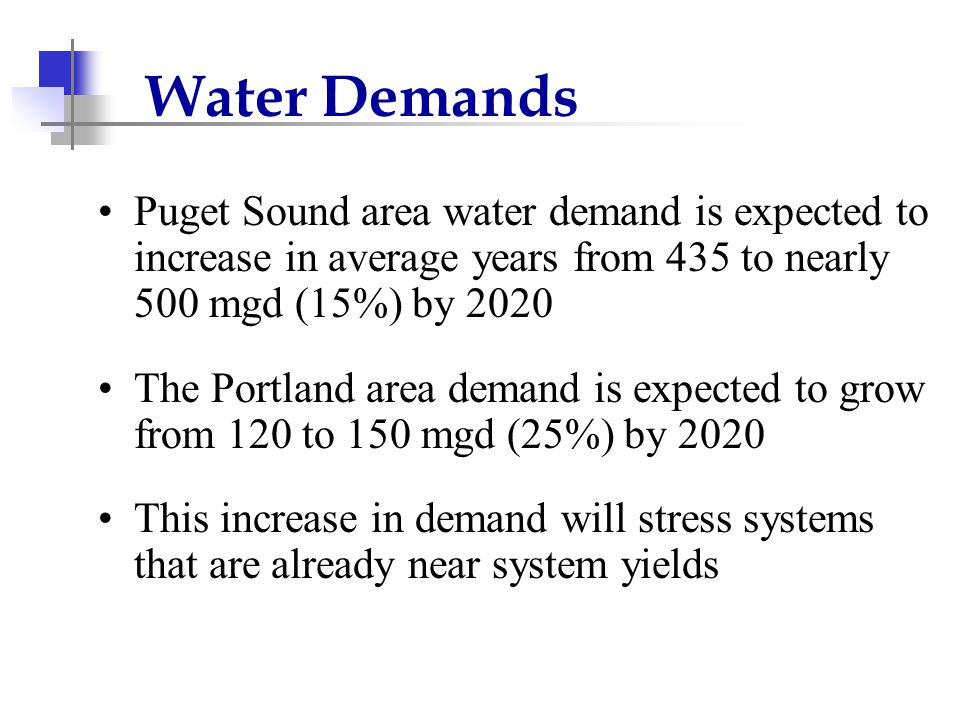Water Demands Puget Sound area water demand is expected to increase in average years from 435 to nearly 500 mgd (15%) by 2020 The Portland area demand is expected to grow from 120 to 150 mgd (25%) by 2020 This increase in demand will stress systems that are already near system yields
