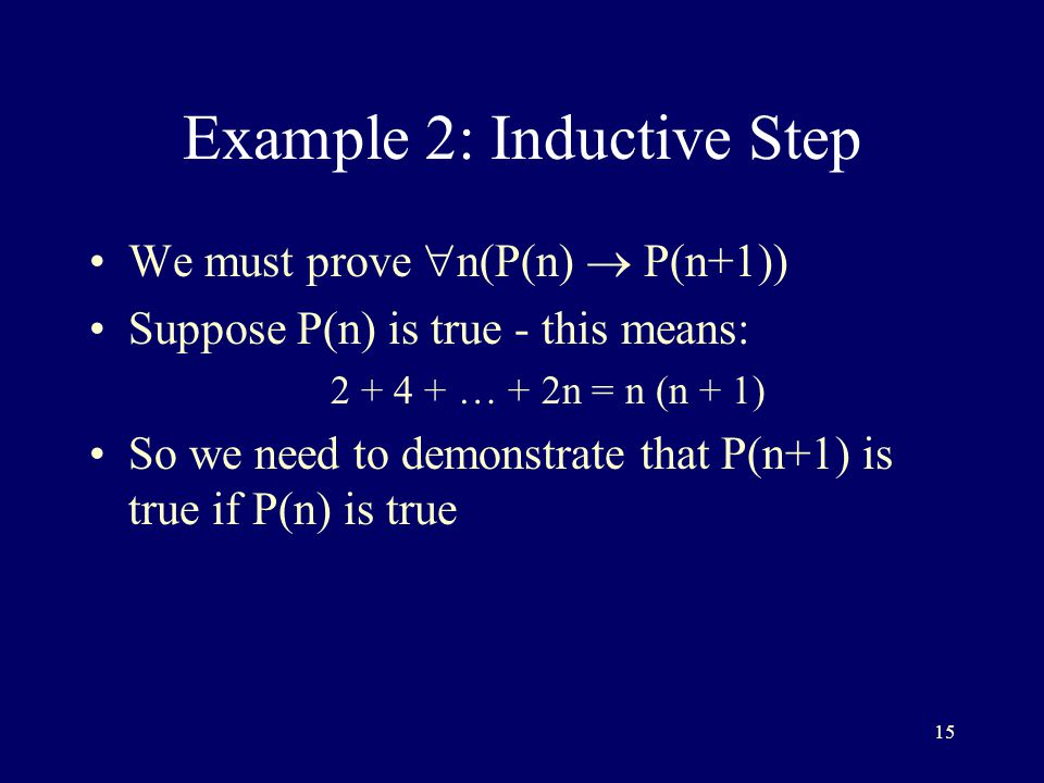 15 Example 2: Inductive Step We must prove  n(P(n)  P(n+1)) Suppose P(n) is true - this means: … + 2n = n (n + 1) So we need to demonstrate that P(n+1) is true if P(n) is true
