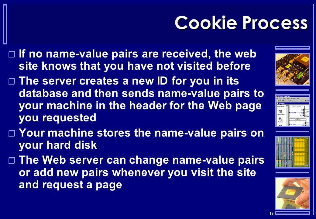 13 Cookie Process  If no name-value pairs are received, the web site knows that you have not visited before  The server creates a new ID for you in its database and then sends name-value pairs to your machine in the header for the Web page you requested  Your machine stores the name-value pairs on your hard disk  The Web server can change name-value pairs or add new pairs whenever you visit the site and request a page