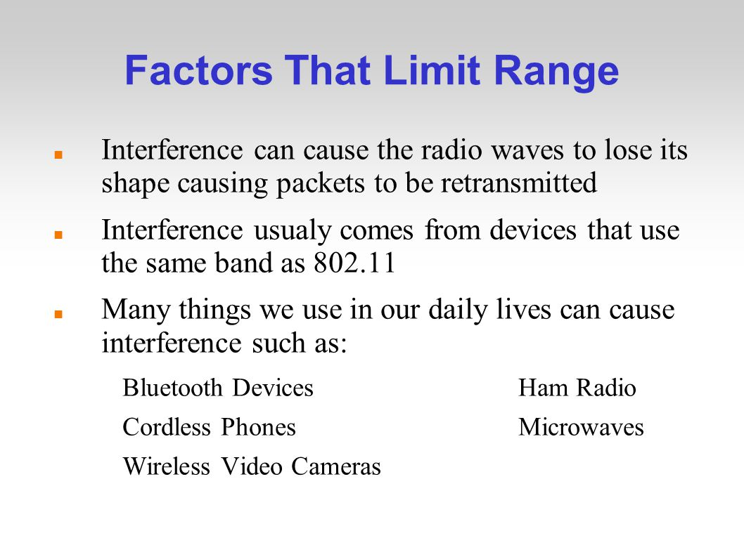 Factors That Limit Range Interference can cause the radio waves to lose its shape causing packets to be retransmitted Interference usualy comes from devices that use the same band as Many things we use in our daily lives can cause interference such as: Bluetooth DevicesHam Radio Cordless PhonesMicrowaves Wireless Video Cameras