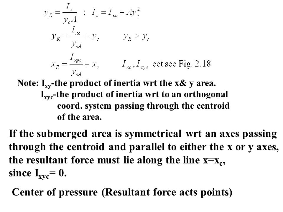 Note: I xy -the product of inertia wrt the x& y area.