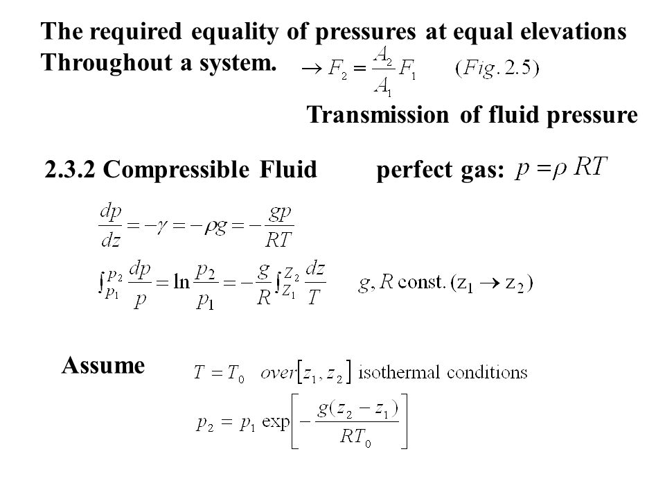 The required equality of pressures at equal elevations Throughout a system.