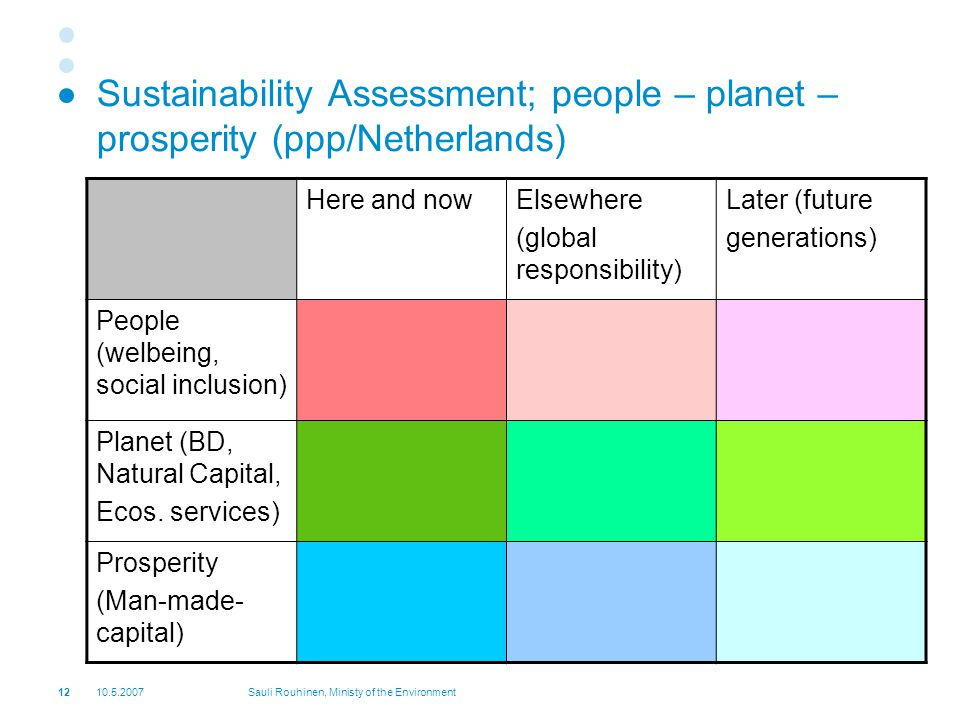 Sauli Rouhinen, Ministy of the Environment Sustainability Assessment; people – planet – prosperity (ppp/Netherlands) Here and nowElsewhere (global responsibility) Later (future generations) People (welbeing, social inclusion) Planet (BD, Natural Capital, Ecos.
