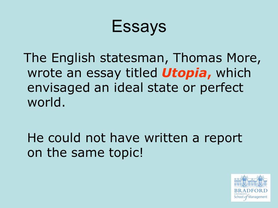 essays of utopia