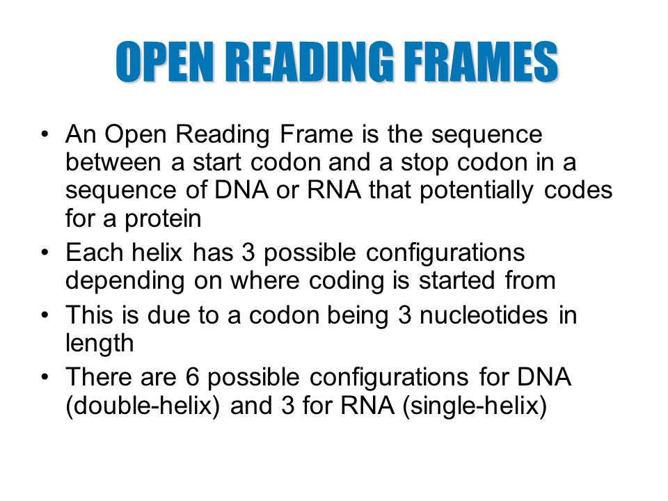 An Open Reading Frame is the sequence between a start codon and a ...