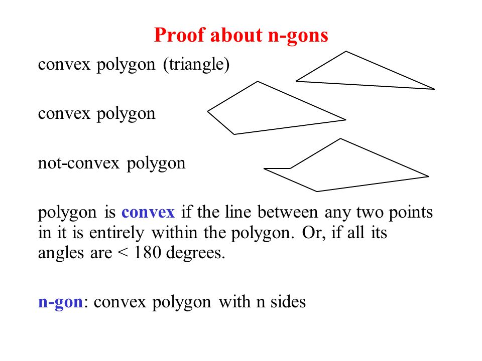 Proof about n-gons convex polygon (triangle) convex polygon not-convex polygon polygon is convex if the line between any two points in it is entirely within the polygon.