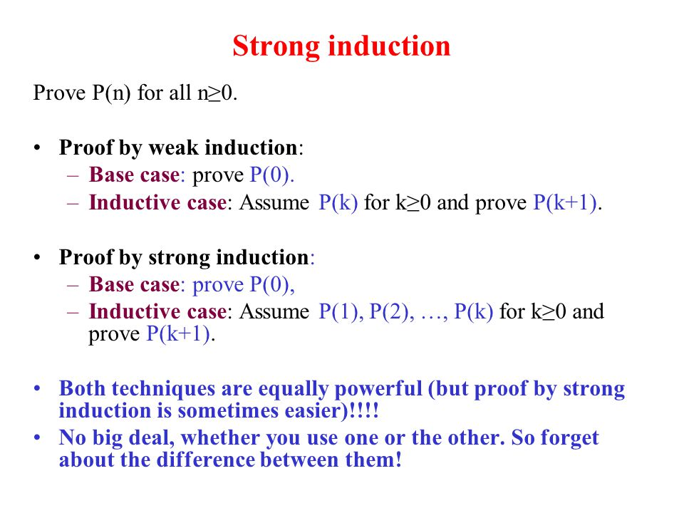 Strong induction Prove P(n) for all n≥0. Proof by weak induction: –Base case: prove P(0).