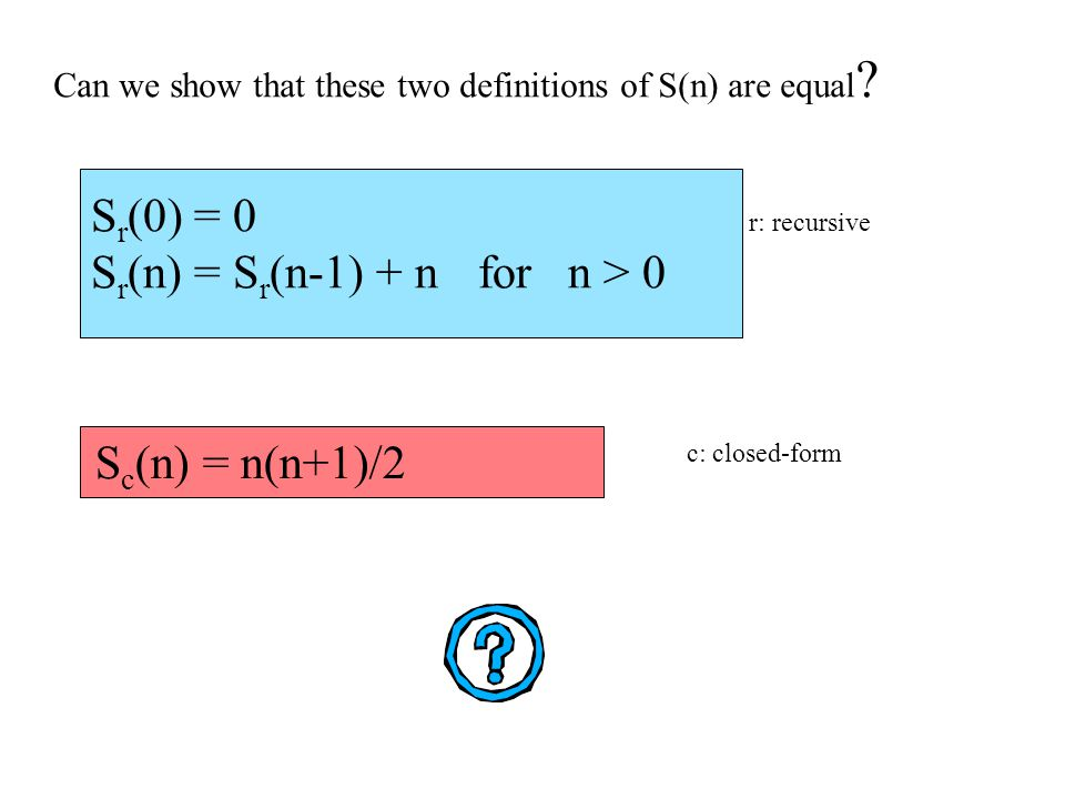 S r (0) = 0 S r (n) = S r (n-1) + n for n > 0 S c (n) = n(n+1)/2 Can we show that these two definitions of S(n) are equal .