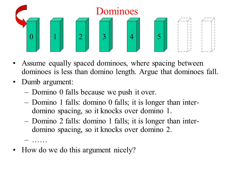 Dominoes Assume equally spaced dominoes, where spacing between dominoes is less than domino length.