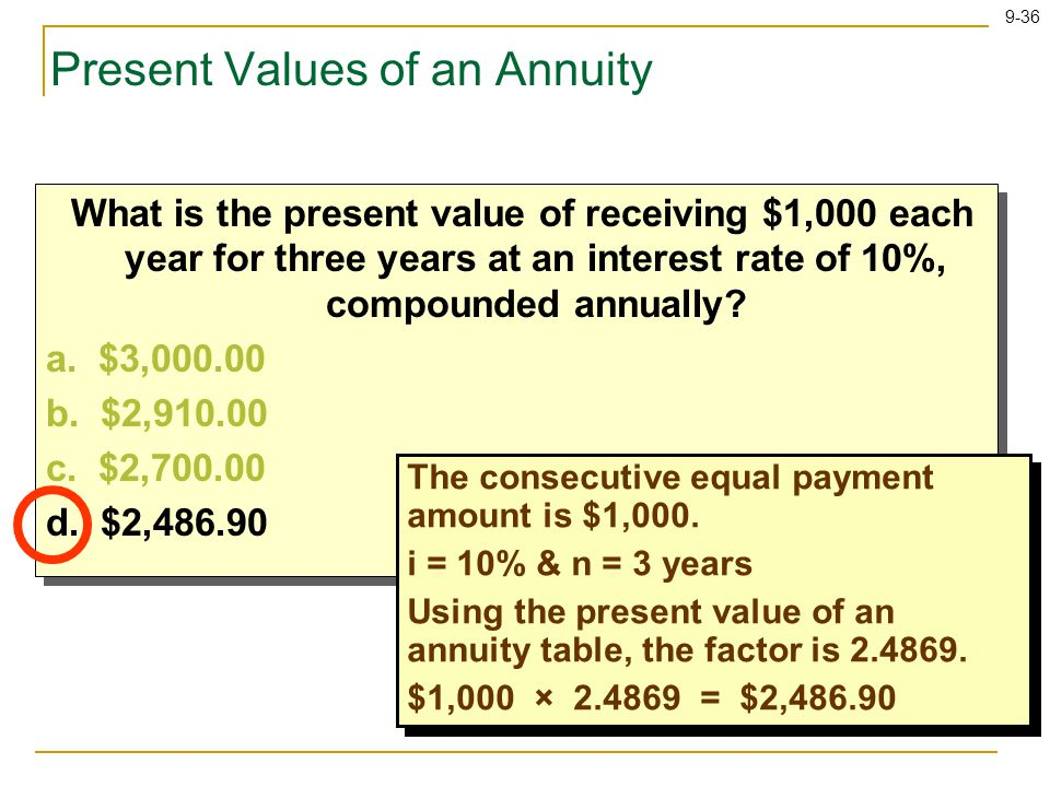 9-36 What is the present value of receiving $1,000 each year for three years at an interest rate of 10%, compounded annually.