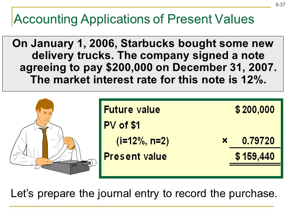 9-37 Accounting Applications of Present Values On January 1, 2006, Starbucks bought some new delivery trucks.