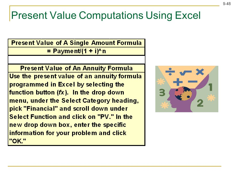 9-48 Present Value Computations Using Excel
