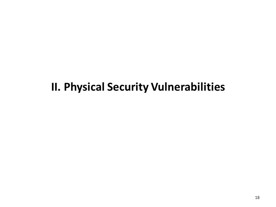 II. Physical Security Vulnerabilities 18