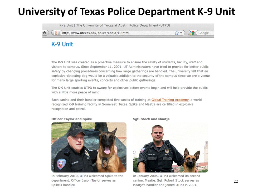 University of Texas Police Department K-9 Unit 22