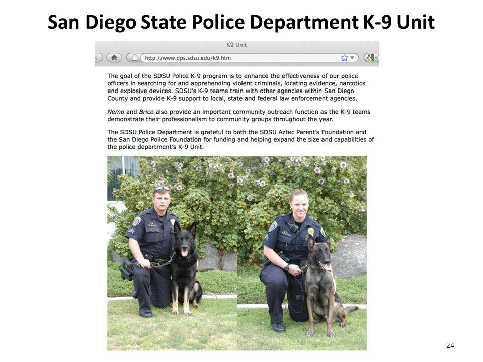 San Diego State Police Department K-9 Unit 24