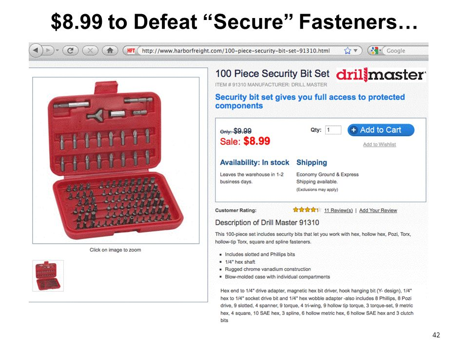 42 $8.99 to Defeat Secure Fasteners…