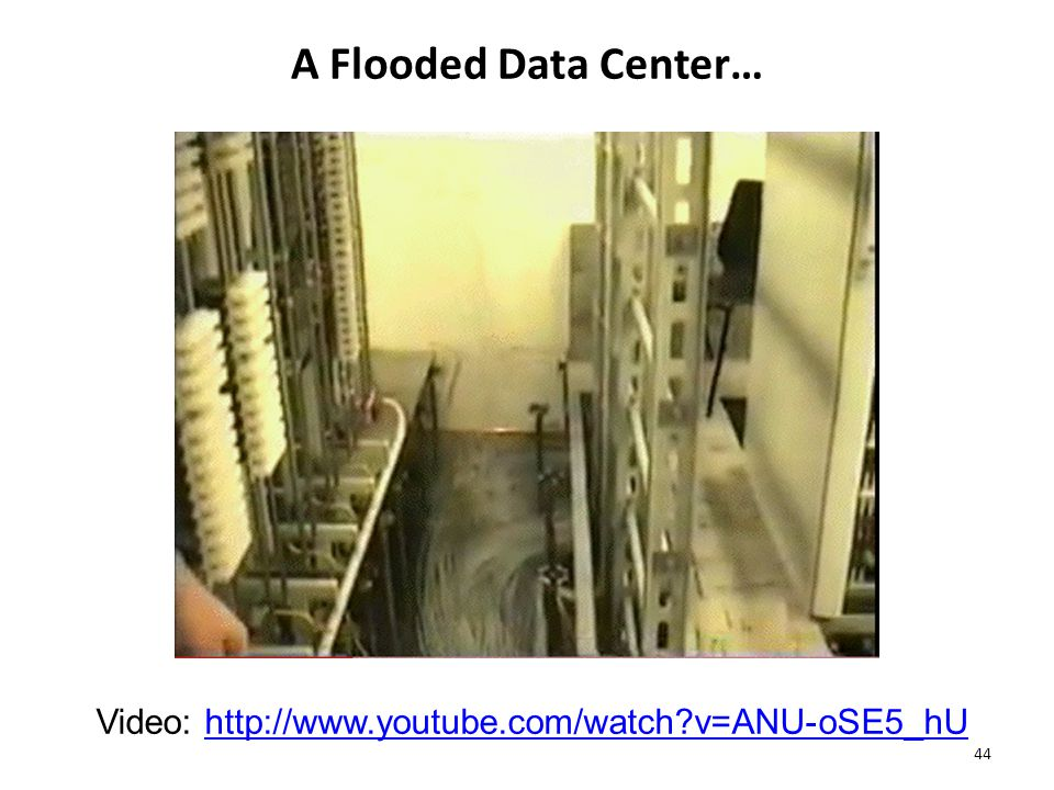 A Flooded Data Center… 44 Video:   v=ANU-oSE5_hUhttp://  v=ANU-oSE5_hU